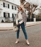 jacket,leopard print,ankle boots,cropped jeans,belt,knitted sweater,turtleneck sweater,bucket bag,handbag