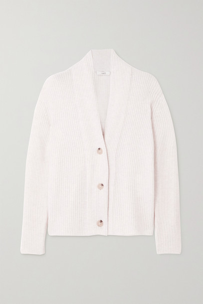 VINCE - Ribbed Wool And Cashmere-blend Cardigan - White