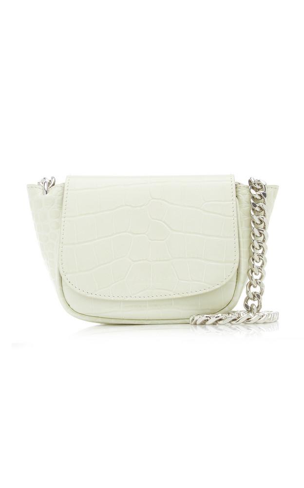 Simon Miller Mini Bend Croc-Effect Leather Crossbody Bag in white