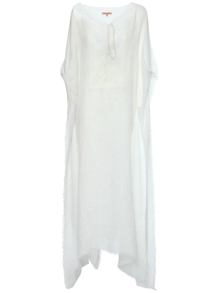 ERMANNO SCERVINO Linen Caftan Long Dress in white