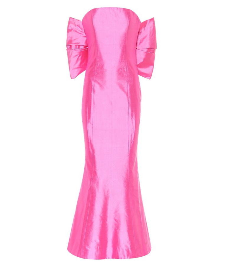 RASARIO Silk-satin strapless midi dress in pink