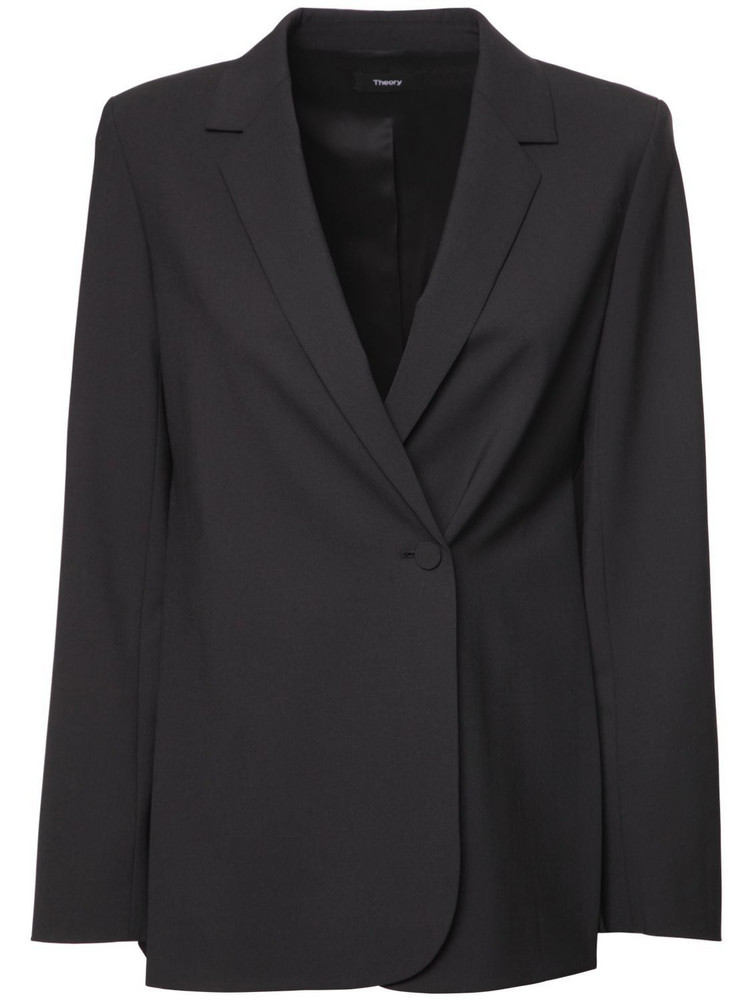 THEORY Double Breasted Wool Blend Blazer in black