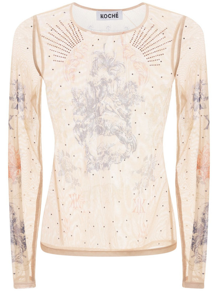 KOCHE' Second Skin Tulle Top in pink