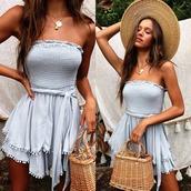 romper,blue romper,dress,blue,summer,summer dress,spring outfits,spring,tassel,light,light blue
