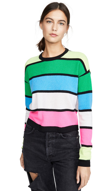 ONE by Threads of PRVLG ONE by Striped Cashmere Crew Sweater in multi