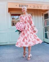 dress,midi dress,pink dress,off the shoulder dress,sandal heels,pink bag