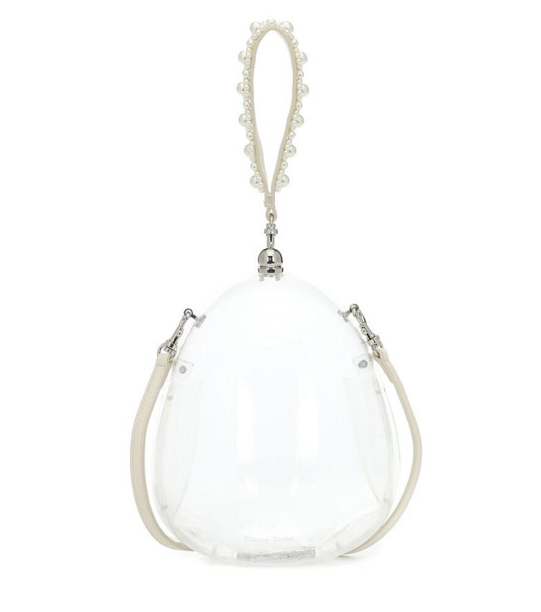 Simone Rocha Egg embellished clutch in white
