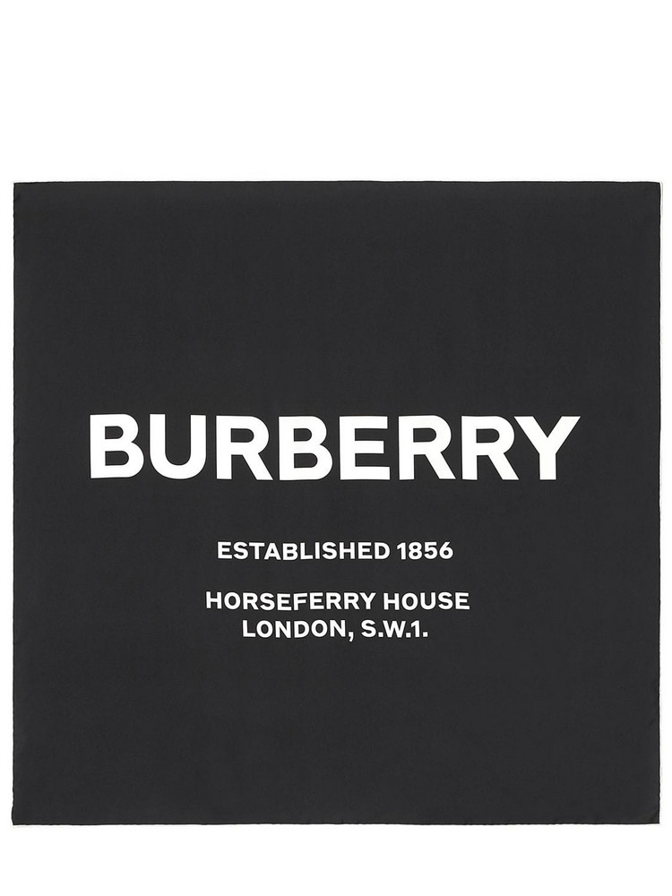 BURBERRY Logo Print Silk Scarf in black