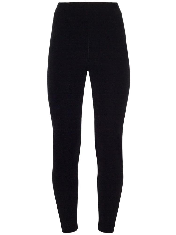 SAINT LAURENT High Waist Velvet Effect Leggings in noir