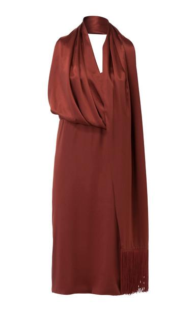 DoDo Bar Or Elle Draped Silk-Satin Midi Dress in red