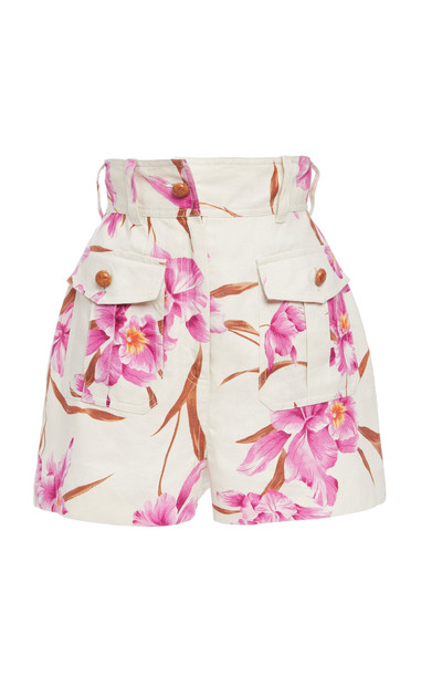 Zimmermann Corsage Belted Printed Linen Shorts Size: 0