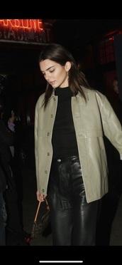 jacket,pastel green leather jacket