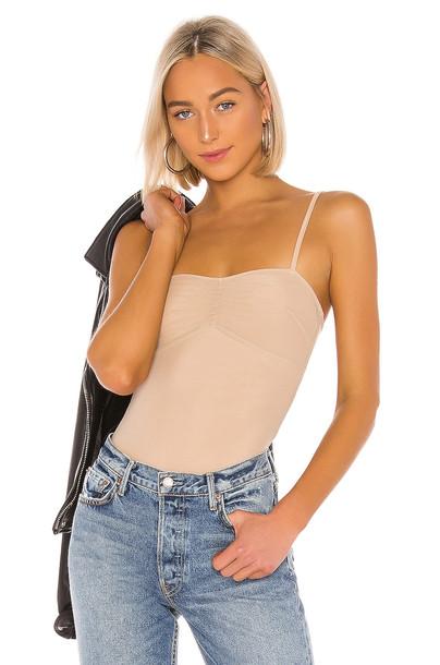 superdown Crista Ruched Mesh Bodysuit in beige