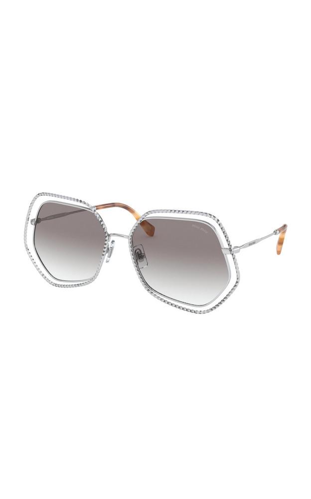Miu Miu Crystal-Embellished Hexagonal Metal Sunglasses in brown