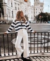 top,stripes,white,black,black and white,polo shirt