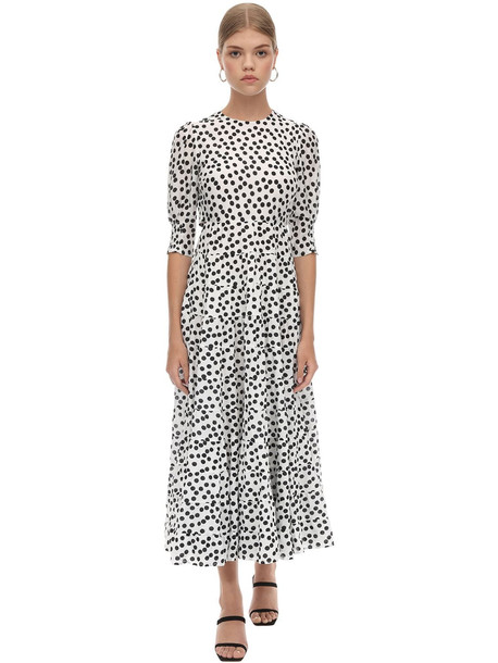 RIXO Open Back Cotton & Silk Midi Dress in black / white