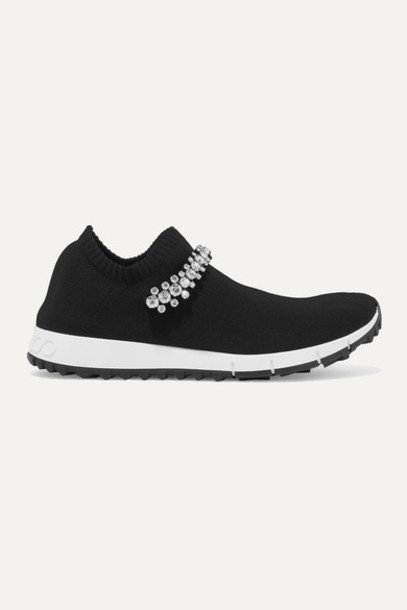 Jimmy Choo - Verona Crystal-embellished Stretch-knit Sneakers - Black