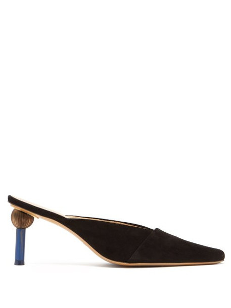 Jacquemus - Sao Mismatched Heel Suede Mules - Womens - Black