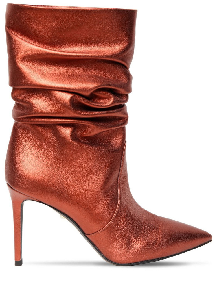 ALEVÌ 90mm Metallic Leather Ankle Boots