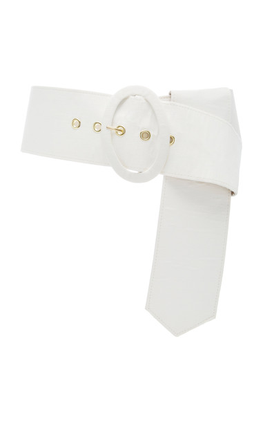 Cult Gaia Lia Linen And Cotton-Blend Belt Size: M/L in white