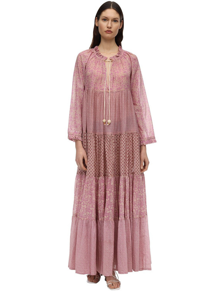 YVONNE S Hippy Cotton Voile Maxi Dress in pink