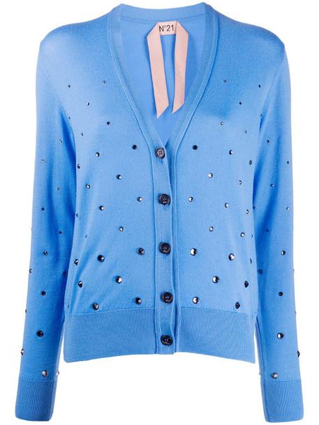 Nº21 crystal embellished cardigan in blue