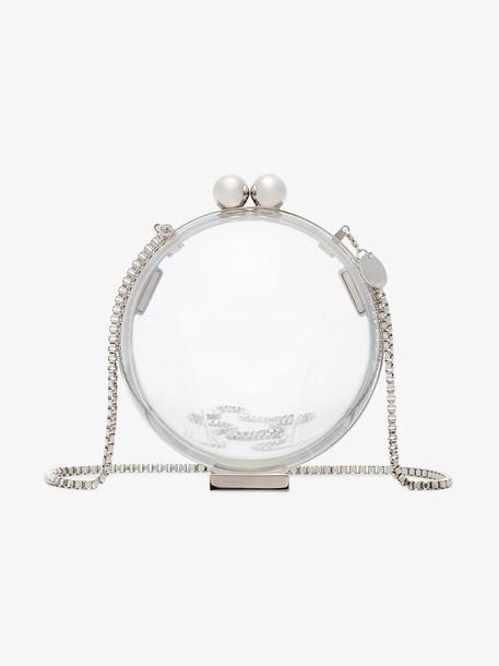Marzook Lucid Platinum sphere plexiglass clutch in metallic