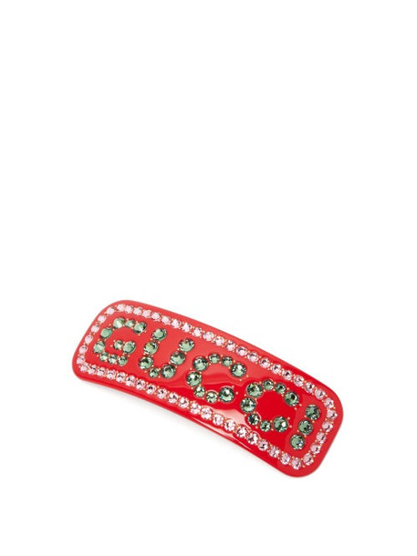 Gucci - Crystal Logo Resin Hair Slide - Womens - Red