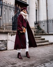 bag,gucci bag,brown bag,red boots,ankle boots,white jeans,cropped jeans,infinity scarf,red coat,double breasted,beret,sunglasses