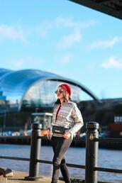 preppy fashionist,blogger,jacket,belt,bag,leggings,shoes,beret,belt bag,spring outfits