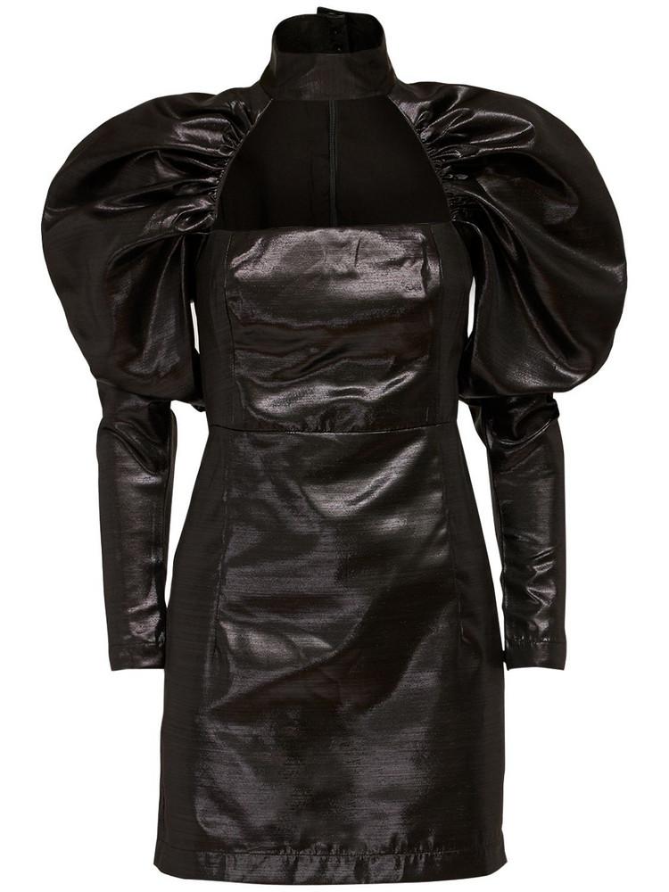 ROTATE Kaya Mini Dress W/ Puff Sleeves in black