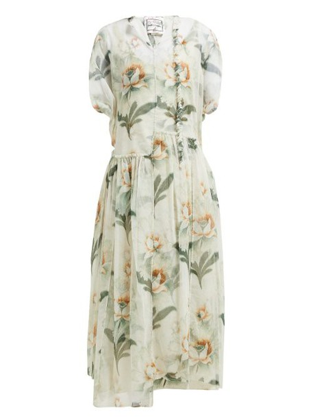 By Walid - Aida Floral Print Cotton Tulle Midi Dress - Womens - Ivory Multi