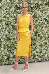 dress,nicky hilton,yellow,yellow dress,midi dress,celebrity