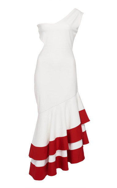 Leal Daccarett Sabor A Mi One-Shoulder Crepe Dress in white