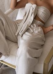 top,linen,linen set,beige,bandeau and pants,pants set,top and pants
