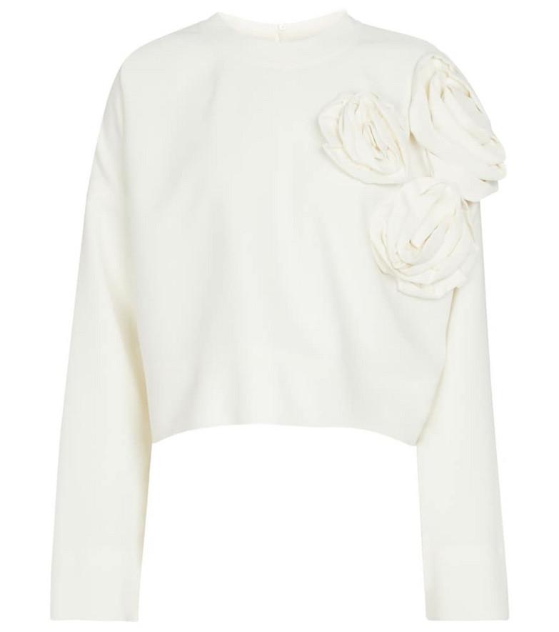 Valentino Floral appliqué sweatshirt in white