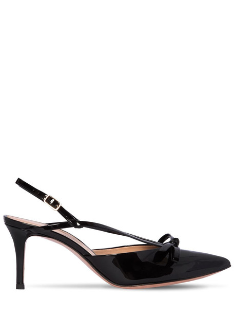 GIANVITO ROSSI 70mm Patent Leather Sling Back Pumps in black