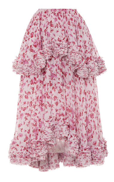 AMUR Nita Floral-Printed Chiffon Midi Skirt Size: 0 in print
