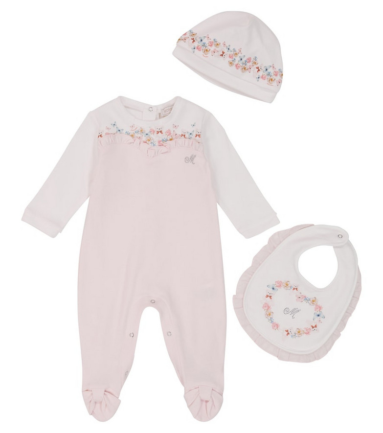 Monnalisa Baby cotton onesie, bib and hat set in white