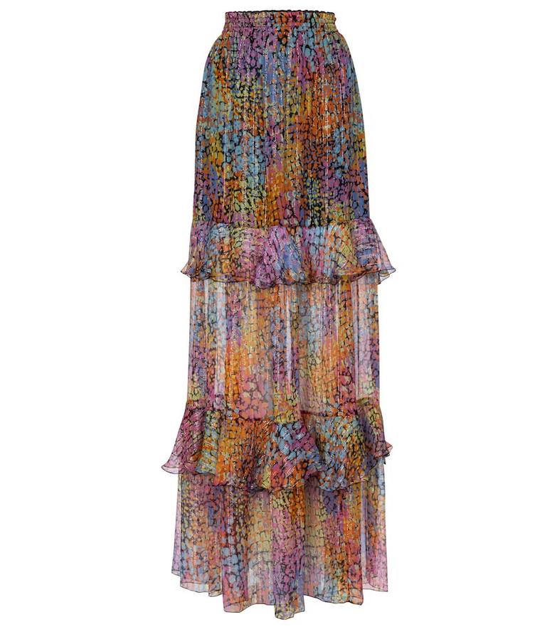 Dundas Printed metallic silk maxi skirt