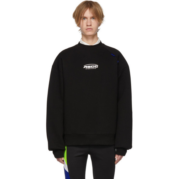 ADER error SSENSE Exclusive Black ASCC Unbalanced Yoke Sweatshirt