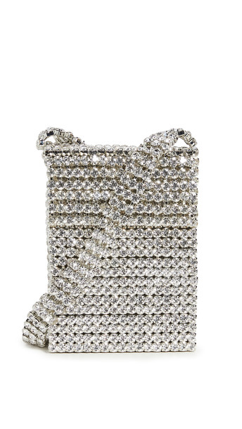 Area Crystal Flapper Mini Bag in silver