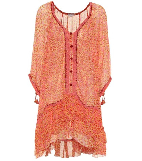 Poupette St Barth Bety printed silk poncho minidress in pink