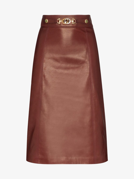 Gucci Horsebit Detail High Waist Leather Skirt in brown