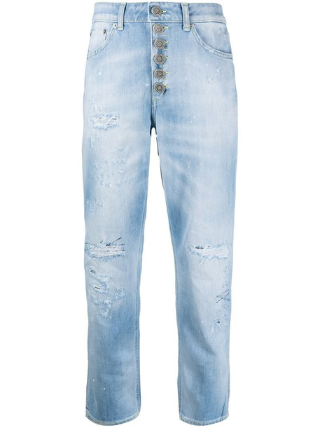 Dondup distressed-effect mid-rise cropped jeans in blue