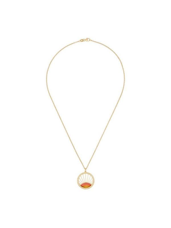 Andrea Fohrman 18K yellow gold diamond sunset pendant necklace in metallic