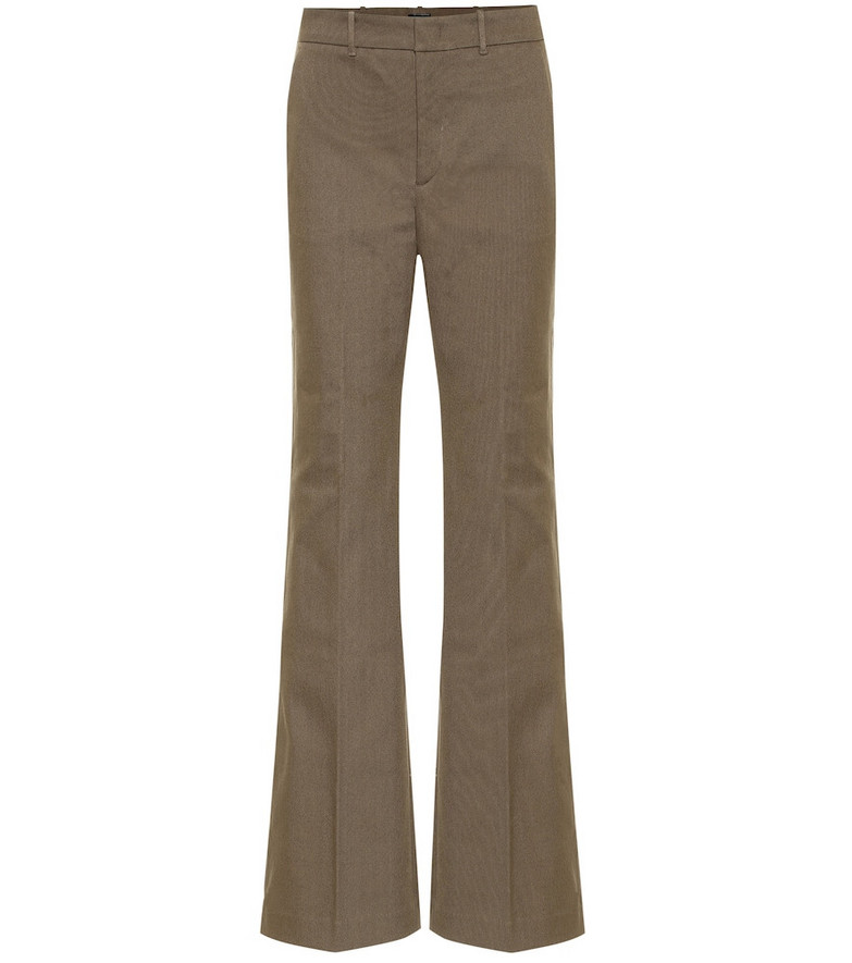Joseph High-rise stretch-cotton pants in brown