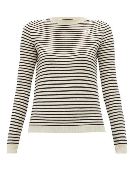 Rochas - R Appliqué Striped Cashmere Sweater - Womens - White Multi