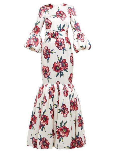 Rebecca De Ravenel - Patio Floral Print Silk Charmeuse Fishtail Gown - Womens - White Multi