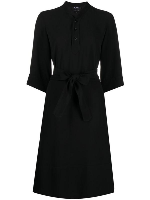 A.P.C. tie-waist shirt dress in black